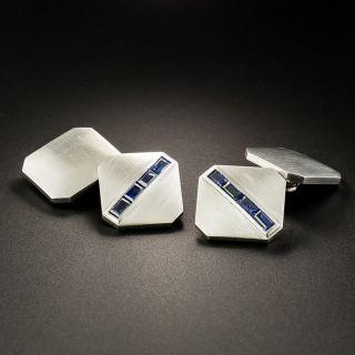 Art Deco Platinum Sapphire Cuff Links by J. Milhening - 3