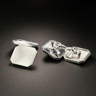 Art Deco Sapphire Cufflinks by J. Milhening