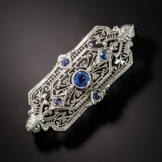 Art Deco Sapphire Filigree Pin - 2