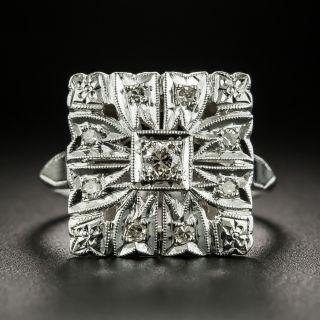 Art Deco Square Diamond Dinner Ring - 2