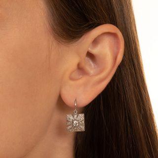 Art Deco Square Diamond Earrings