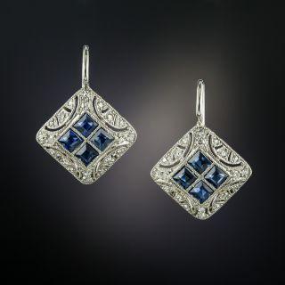 Art Deco Square Sapphire and Diamond Earrings - 4