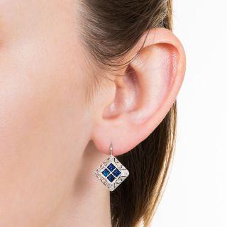 Art Deco Square Sapphire and Diamond Earrings