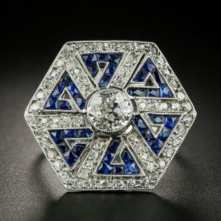 Art Deco Style 1.00 Carat Diamond and Sapphire Greek Key Motif Ring - 2