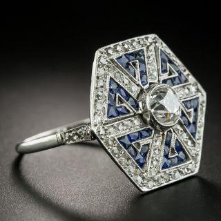 Art Deco Style 1.00 Carat Diamond and Sapphire Greek Key Motif Ring