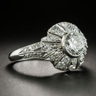 Art Deco Style 1.00 Carat Diamond Engagement  Ring - GIA  J SI1