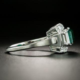 Art Deco Style 1.00 Carat Emerald and Diamond Ring