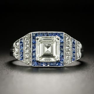 Art Deco Style 1.02 Carat Diamond and Calibre Sapphire Ring - GIA  L VS2 - 2
