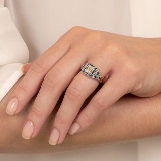 Art Deco Style 1.02 Carat Diamond and Calibre Sapphire Ring - GIA  L VS2