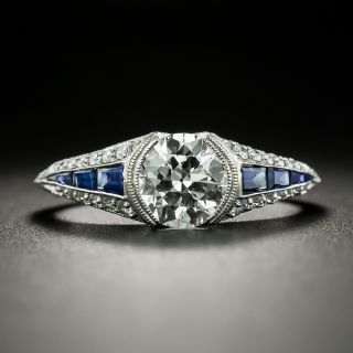 Art Deco Style 1.03 Carat Diamond and Sapphire Engagement Ring - GIA  H VS1 - 2