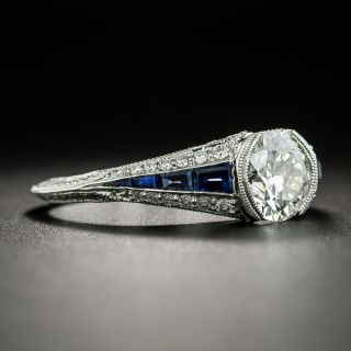 Art Deco Style 1.03 Carat Diamond and Sapphire Engagement Ring - GIA  H VS1