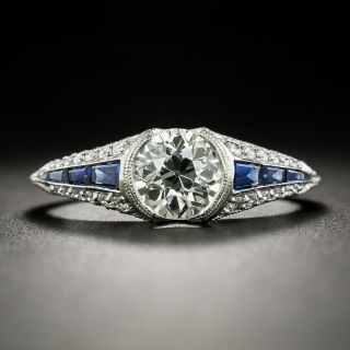 Art Deco Style 1.05 Carat Diamond and Sapphire Engagement Ring - GIA L SI1 - 2