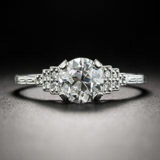 Art Deco Style 1.07 Carat European-Cut Diamond Engagement Ring - GIA G SI1 - 1