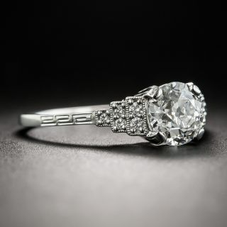 Art Deco Style 1.07 Carat European-Cut Diamond Engagement Ring - GIA G SI1