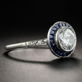 Art Deco Style 1.09 Carat Diamond Sapphire Engagement Ring - GIA E VS1