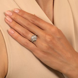 Art Deco Style 1.19 Carat Diamond and Sapphire Ring - GIA  J VS2