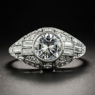 Art Deco Style 1.29 Carat Diamond Platinum Ring - GIA D SI2 - 1