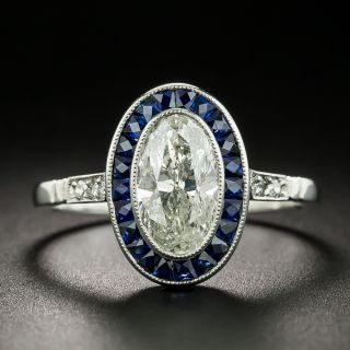 Art Deco Style 1.31 Carat Oval Diamond and Sapphire Ring - 2