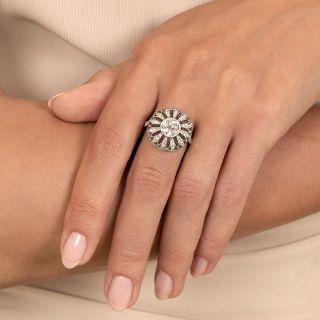 Art Deco Style 1.41 Carat Diamond Flower Ring - GIA J SI2