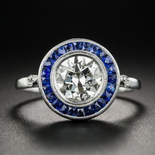 Art Deco Style 1.50 Carat Diamond Sapphire Engagement Ring - 1
