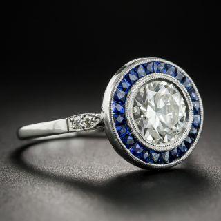 Art Deco Style 1.50 Carat Diamond Sapphire Engagement Ring