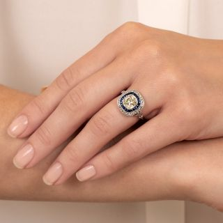 Art Deco Style 1.50 Carat Old Mine Cut Diamond and Calibre Sapphire Ring