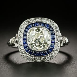 Art Deco Style 1.50 Carat Old Mine Cut Diamond and Calibre Sapphire Ring - 2
