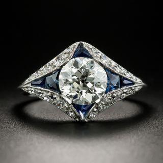Art Deco Style 1.59 Carat Diamond and Sapphire Engagement Ring - GIA K VVS2 - 2