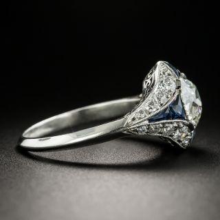 Art Deco Style 1.59 Carat Diamond and Sapphire Engagement Ring - GIA K VVS2