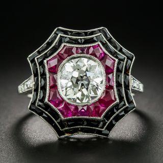 Art Deco Style 1.64 Carat Diamond, Ruby and Black Onyx Spider Web Ring - 1