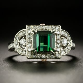 Art Deco Style 1.73 Carat Tourmaline and Diamond Ring - 2