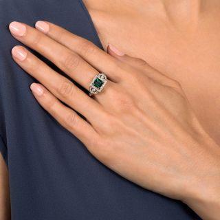 Art Deco Style 1.73 Carat Tourmaline and Diamond Ring