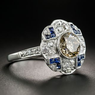 Art Deco Style 1.95 Carat Cognac Diamond Platinum Ring