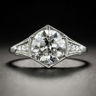 Art Deco Style 2.19 Carat Diamond Platinum Engagement Ring - GIA I SI2 - 2