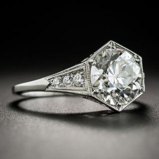 Art Deco Style 2.19 Carat Diamond Platinum Engagement Ring - GIA I SI2