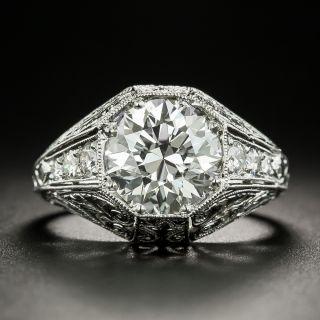 Art Deco Style 2.30 Carat Diamond Platinum Engagement Ring - GIA J VS2 - 1