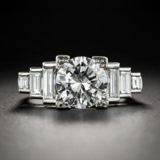 Art Deco Style 2.36 Carats Diamond Platinum Ring - GIA G VS1 - 1