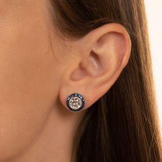 Art Deco Style 2.84 Carat Diamond and Calibre Sapphire Stud Earrings - GIA