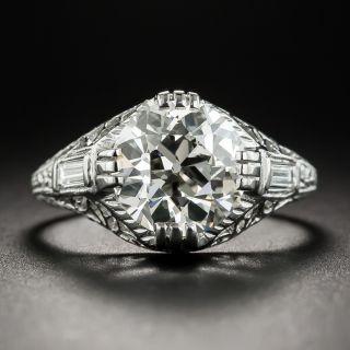 Art Deco Style 2.87 Ct. Diamond Platinum Engagement Ring - GIA K SI1  - 1