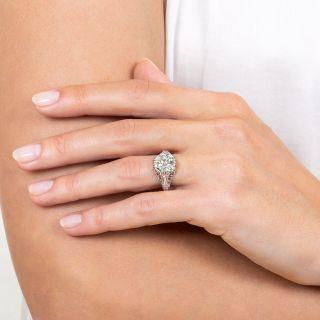 Art Deco Style 2.87 Ct. Diamond Platinum Engagement Ring - GIA K SI1