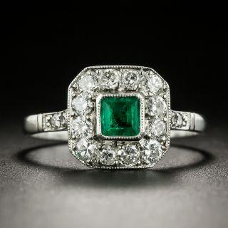 Art Deco Style .21 Carat Emerald and Diamond Ring - 2