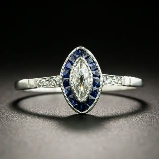 Art Deco Style .23 Carat Marquise Diamond and Sapphire Halo Ring - 2