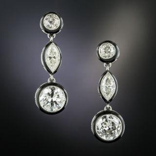 Art Deco Style 5.15 Carat Diamond and Black Enamel Drop Earrings - 2
