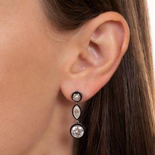 Art Deco Style 5.15 Carat Diamond and Black Enamel Drop Earrings