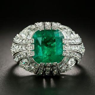Art Deco Style 5.50 Carat Emerald and Diamond Ring - 2