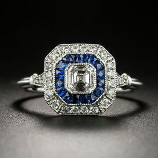 Art Deco Style .50 Carat Asscher-Cut Diamond and Sapphire Engagement Ring - 3