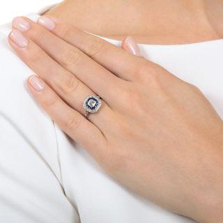 Art Deco Style .50 Carat Asscher-Cut Diamond and Sapphire Engagement Ring