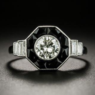 Art Deco Style .50 Carat Diamond and Onyx Ring - 3