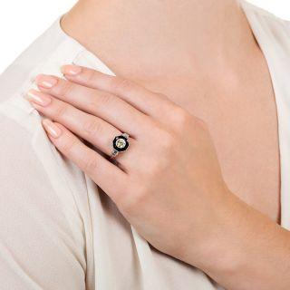 Art Deco Style .50 Carat Diamond and Onyx Ring