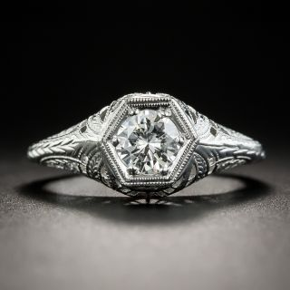 Art Deco Style .52 Carat Diamond Platinum Solitaire Engagement Ring - 2